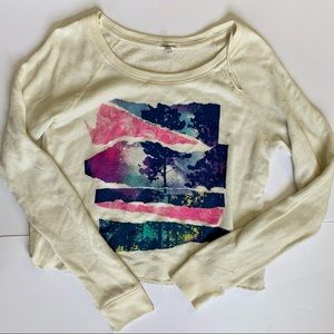 graphic cropped long sleeve sweater